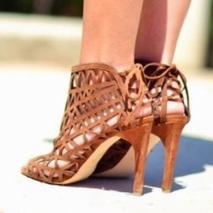 ZARA Suede Leather Cage Cutout Lace Tie Sandals